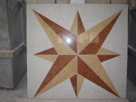 mosaico rosa perlato : Rosa dei venti realizzata con diversi tipi di marmo(daino reale,giallo ...